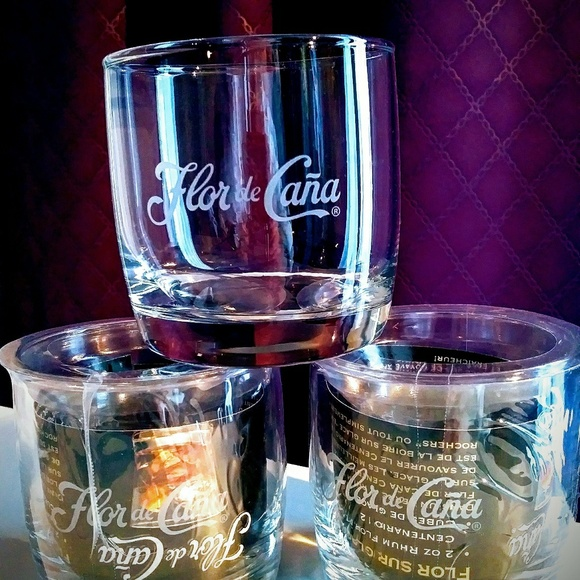 6 High quality Flor de Cana original glasses.
